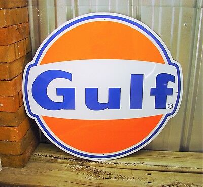 "Gulf Gasoline Gas Orange Large Embossed Metal Tin Sign 24"" Vintage Garage Logo"
