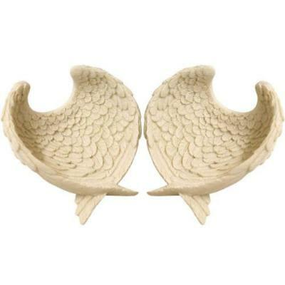 Set Of 2 White Feather Guardian Angel Wing Dishes- Bowl Display Trinket ANG151-P