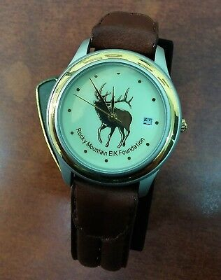 """""""Rocky Mountain Elk Foundation"""" Men's Watch In Original Box never used Leather M"""