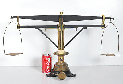 "Vintage Christian Becker Cast Iron Brass Balance Scale New York 15-1/2"" 26"" Arm"