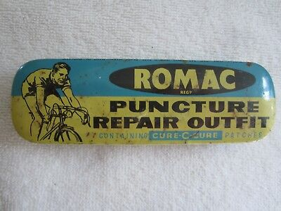 Vtg ROMAC PUNCTURE REPAIR Outfit KIT TIN w/ PICTURE Bicycle BIKE Cycling RARE