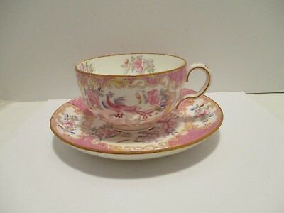 Mintons Cockatrice Cup & Saucer Pink Bird 6 5/8 inch Saucer 4 1/8 in Cup England