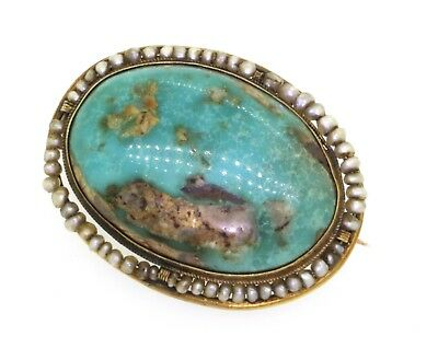 Antique 14k yellow gold 24.5mm X 18mm turquoise and pearl brooch