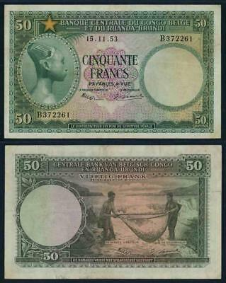 Beautiful 1953 Belgian Congo Fifty Francs Banknote Pick# 27a PMG Very Fine 30