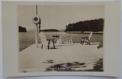 Antique RPPC Real Photo Postcard The Dock At Migis Lodge South Casco Maine ME