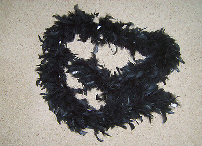 BLACK FEATHER BOA BURLESQUE 1920s DANCE HEN NIGHT FANCY DRESS COSTUME USED