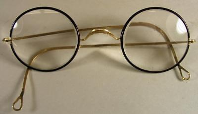 Antique Gold Windsor Spectacles Eyeglasses With Red / Brown Rims