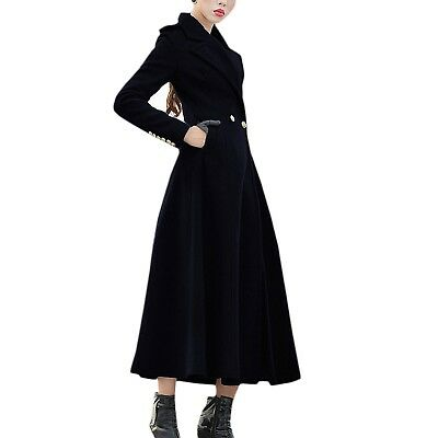 Black Full Length Jacket Trench Coat Ankle Victorian party Long cardigan Size 14