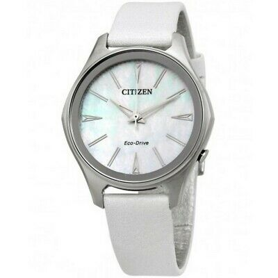 Citizen EM0598-01D Women's White Leather Band With Mother Of Pearl Dial Watch