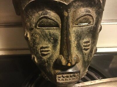 Antique Ivory Coast Yaore African Tribal Hand Carved Wood Mask Offers Considered