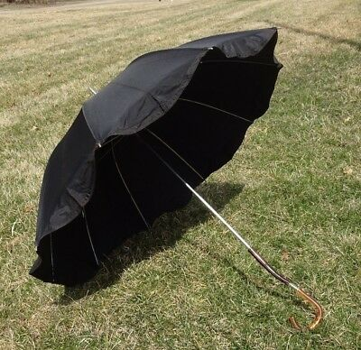 ATQ VTG Black Umbrella Parasol Curved Handle Mourning Photo Prop Decor OldEstate