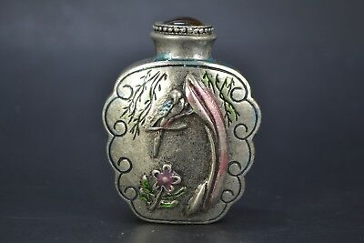 Vintage chinese Collectible Old Tibet Silver belle bath handwork Snuff Bottle