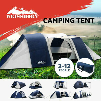 WEISSHORN Camping Tents Tent Family Canvas Swag Hiking Beach 2/4/6/8/12 Person