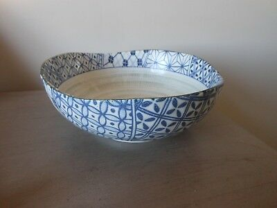 Vintage  Large Japanese Blue & White Undulating . Rim Signed Bowl