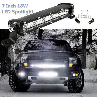 "7"" 18W CREE LED Work Light Bar Spot Beam Offroad Driving Fog Lamp ATV SUV"