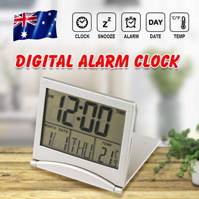 Home Digital LCD Travel Alarm Clock Time Calendar Temperature Thermometer AU