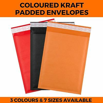 Coloured Kraft Padded Envelopes Bubble Mailing Bag Postal Bags Pouches - 7 Sizes
