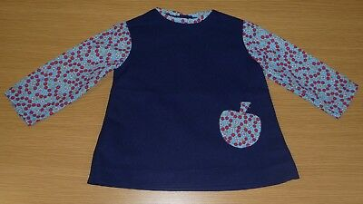 VINTAGE 1970's UNWORN GIRLS NAVY BLUE FLORAL APPLE APPLIQUE DRESS AGE 12 MONTHS