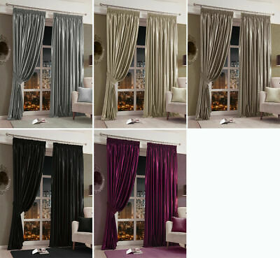 CHANTAL Faux Shiny Velvet Lined Tape Top Pencil Pleat Curtains and  Door Curtain
