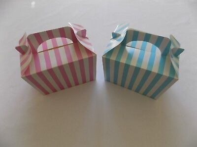 Pink Blue STRIPE Food/treat  Gift BOXES Baby Shower Sweet Party Candy