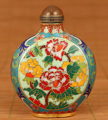 Rare China Old Copper Cloisonne Hand Painting chrysanthemum Statue Snuff Bottle