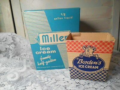 2 Vintage Ice Cream Cartons- Elsie's  Borden's & Millers