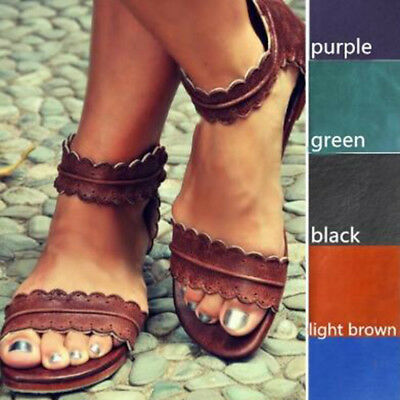 WomenS Fashion Faux Leather Straps Sandals Flat Heel Fashion Female Summer Shoes