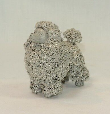 JANE CALLENDER California Pottery Gray POODLE Dog Figurine Spaghetti Fur