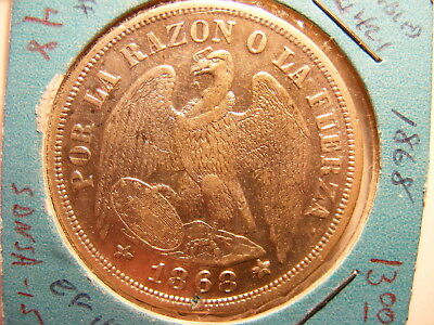 Chile 1868 (Doubled 6), Silver Peso, VF+/XF
