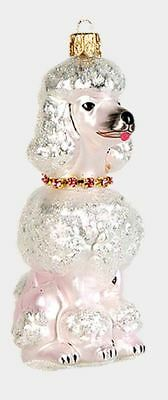 White French Poodle Polish Mouth Blown Glass Christmas Ornament Dog Decoration