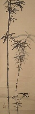 #9704 Japanese Hanging Scroll: Bamboo and Sparrow