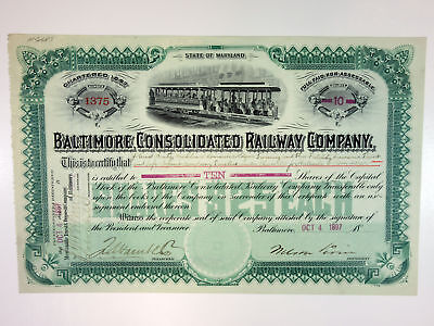 Baltimore Consolidated Railway Co., 1897 10 Shrs I/U Stock Certificate, XF FBNC