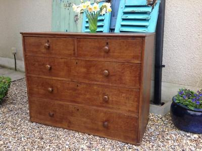 Antique Georgian Chest Of Drawers Solid Flamed Oak Fine Quality C 1830s Rustic