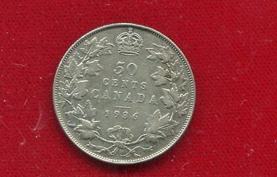 "Canada 1936 50 Cents ""key Date"" Low Mintage 38,550 George V Fine Condition"