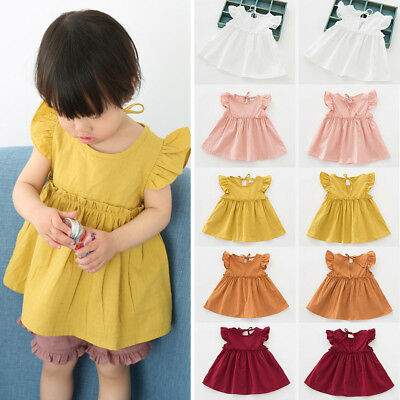 Baby Kids Girl Dress Toddler Princess Party Tutu Summer Cotton Soft Dress Cute