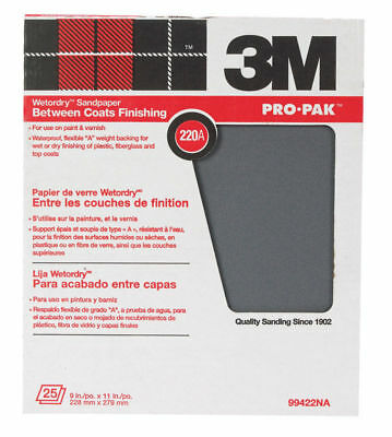 "3M 99422NA 9"" x 11"" 220A Grit Wet or Dry Sandpaper Between Coats Finishing USA"