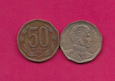 Chile Rep 50 Pesos 1981 Xf 10 Sided Coin,wide Date,libertador B. O'higgins Bust