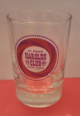 Vintage In Reno Harolds Club for Fun Casino Drinking Glass Alcohol Water Nevada