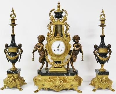 Stunning Large Vintage FHS 8 Day Bronze & Black Marble Musical Mantel Clock Set