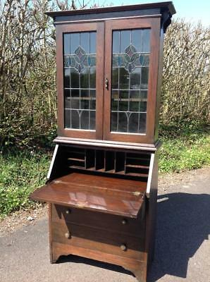 Antique Arts & Crafts Bureau Cabinet Solid Oak Leaded Coloured Glass Rustic Chic