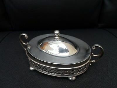 Vintage small condiment  silver plate holder with lid twin handle glass insert