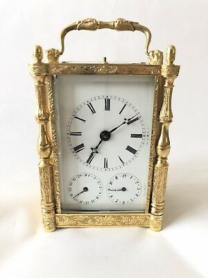 Rare Early French Engraved Carriage Clock With Date And Alarm