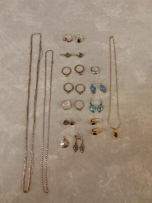 Lot of Sterling Silver and Gold Plated Jewelry Necklaces Rings Womans