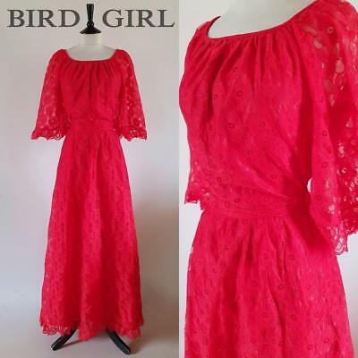 Boho Chic 1970S Vintage Red Floral Lace Evening Maxi Dress 12