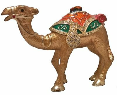 Standing Camel with Orange and Green Pack Crystal Trinket Box
