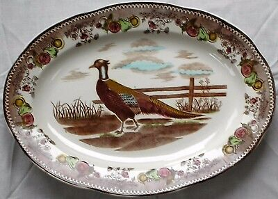 """Antique, Vintage Holiday Turkey Platter Large 18 1/4"""" by 13 1/2""""  Pheasant"""