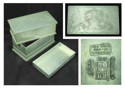 "CHINESE PEWTER TEA CADDY c.1900 - ""KUT HING SWATOW"" CHINA - 6 inch (150mm)"