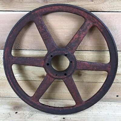 Large Vintage Metal Pulley Gear Wheel Industrial Steampunk Base Decor 16""