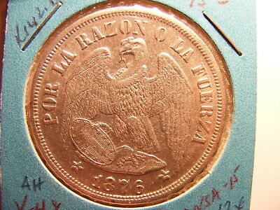Chile 1876 Large Silver 1 Peso, K#142.1, XF