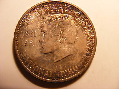 Phillipines 1961 Silver 1/2 Peso, Toned Uncirculated